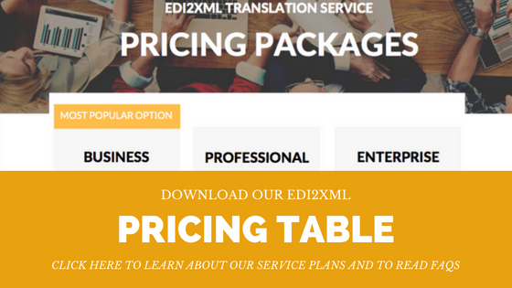 EDI2XML Pricing table for Bussines, Professional and Enterprise