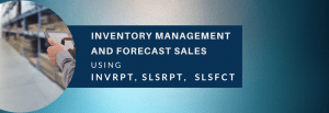 Inventory management and sales forecast using INVRPT, SLSRPT, and SLSFCT